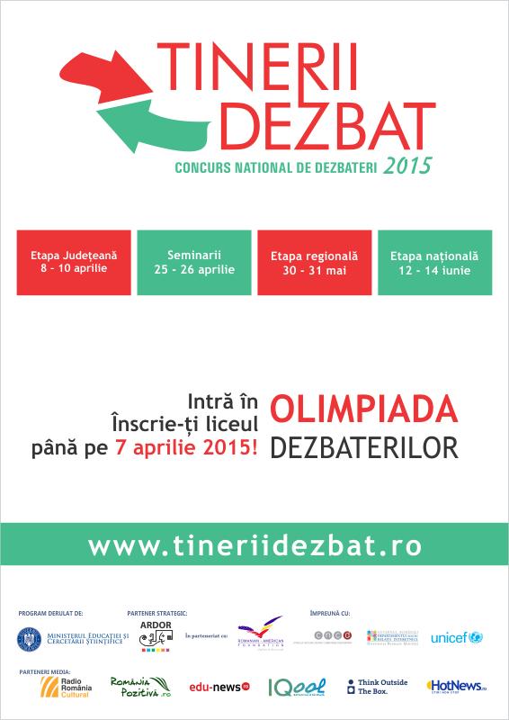 """Startul înscrierilor liceelor la ediția 2015 a Concursului Național """"Tinerii Dezbat"""""""