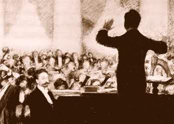 Alexandr Scriabin solist intr-un concert dirijat de Koussevitsky cu Moscow Symphony desen de Pasternak