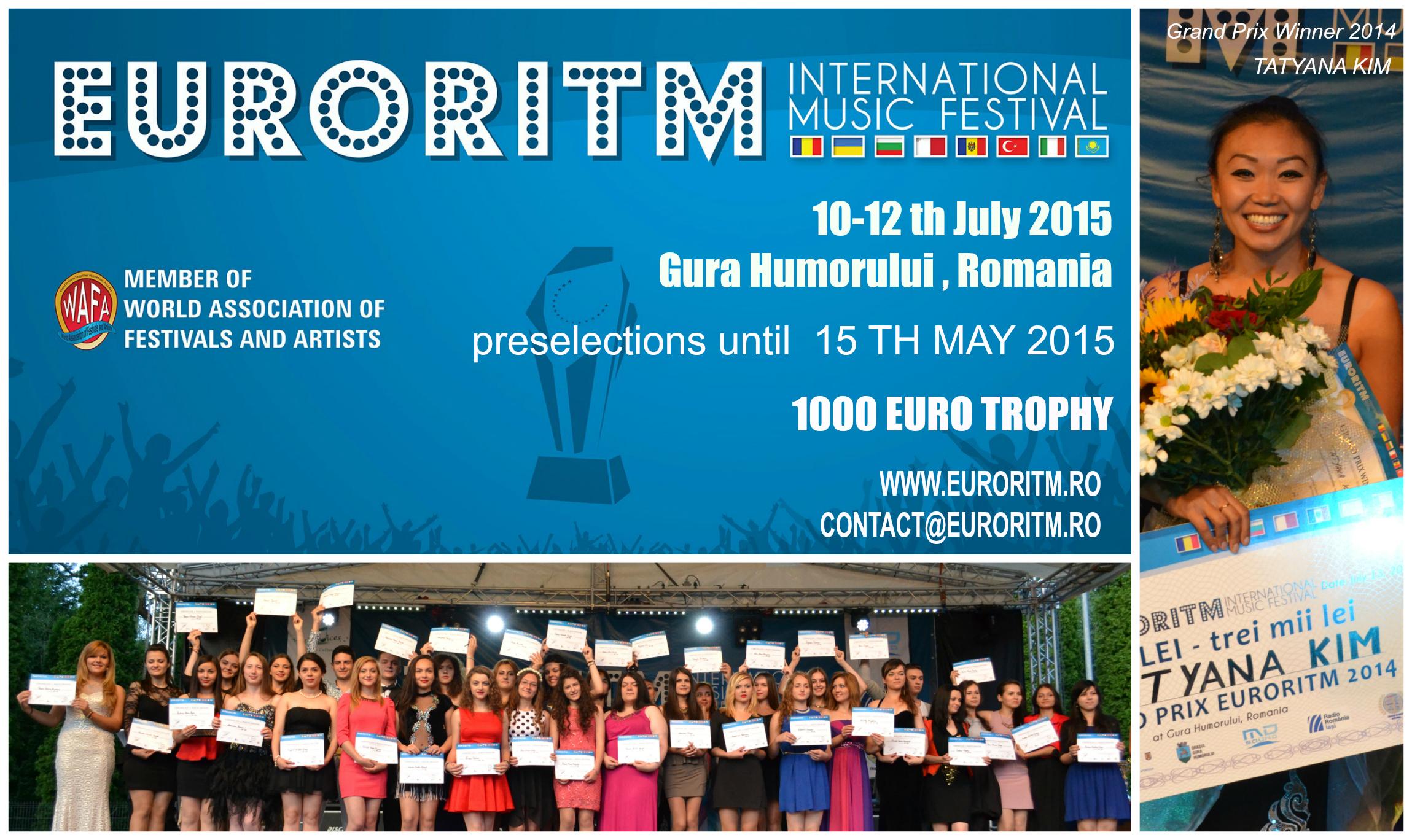 AU ÎNCEPUT ÎNSCRIERILE LA FESTIVALUL INTERNAȚIONAL DE MUZICĂ PENTRU TINERET EURORITM 2015!