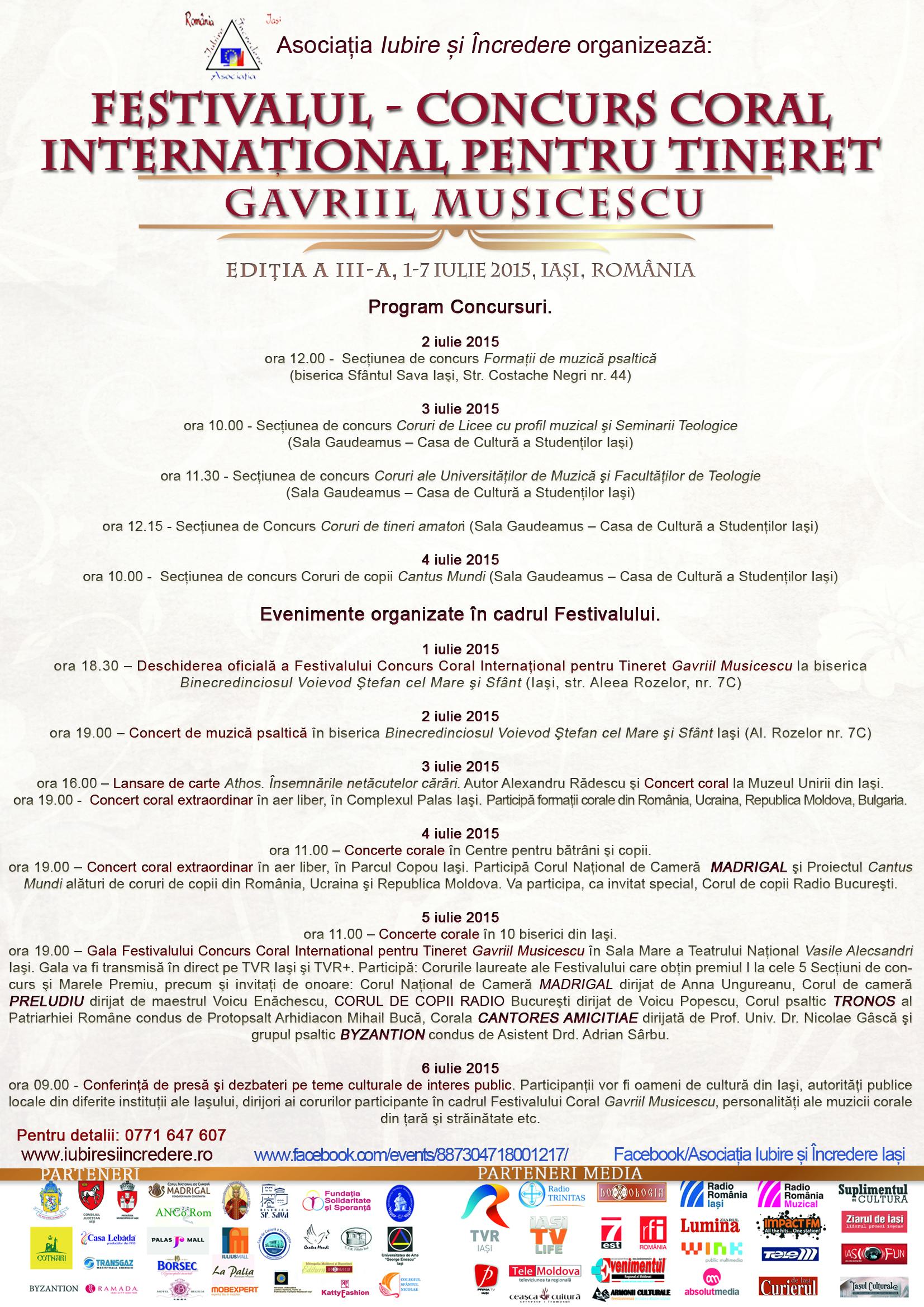 """Iaşi, 1-7 iulie, Festival-Concurs Coral pentru Tineret """"Gavriil Musicescu"""""""