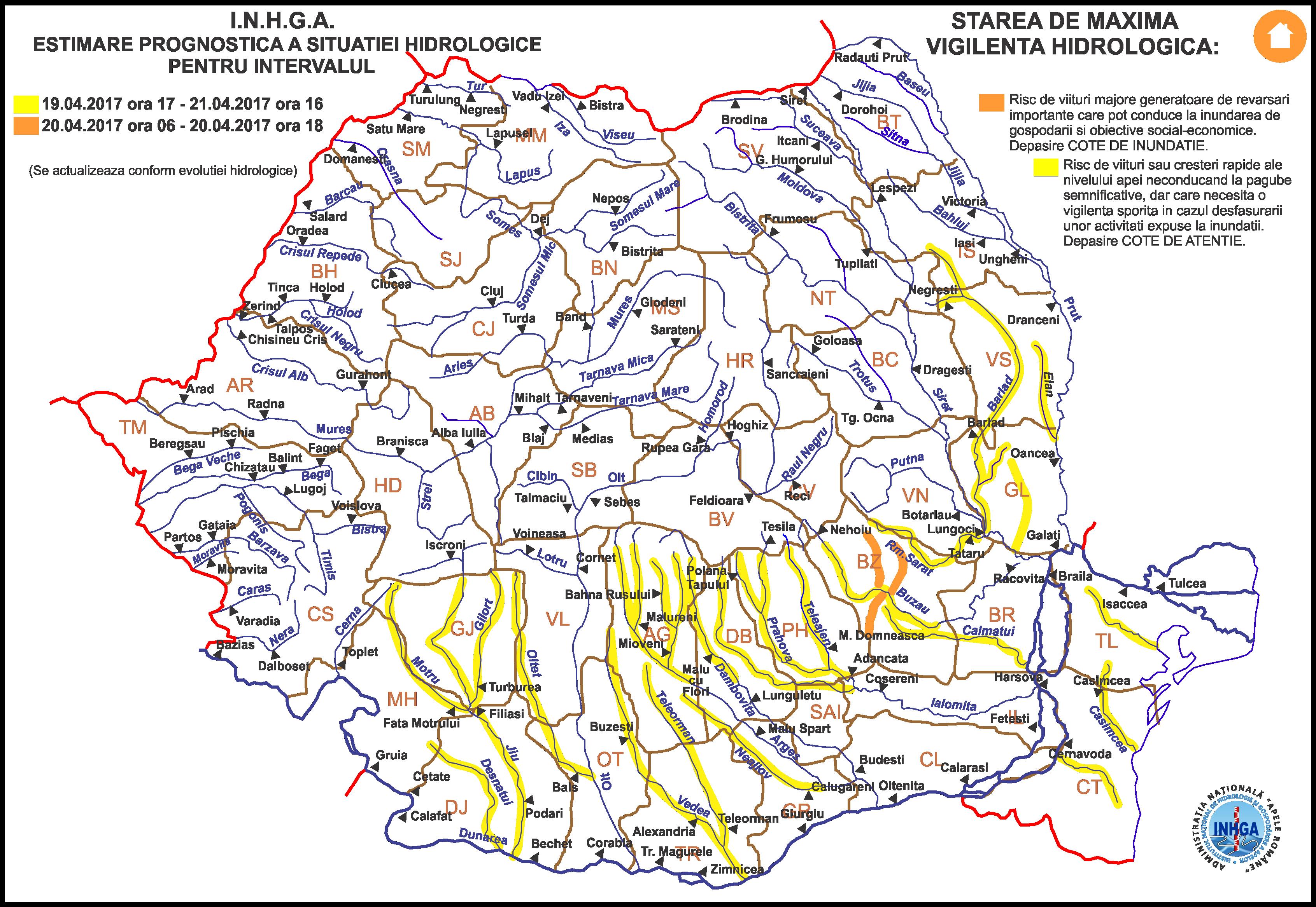 harta avertizare hidrologica nr.11 din 19.04.2017